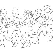 Line of people holding the hips of the person in front of them, helping the last person in the line being tagged by the front person, as played in Dragon Tail Tag
