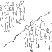 Two groups of people, standing either side of a rope, not wanting to cross the line