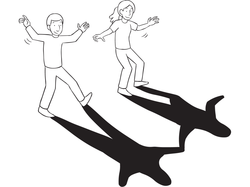 Team-building exercise in which two people cast the longest shadow onto the ground in front of them