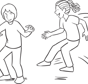 Girl attempting to jump on foot of boy in energetic game called Pretty Darn Quick
