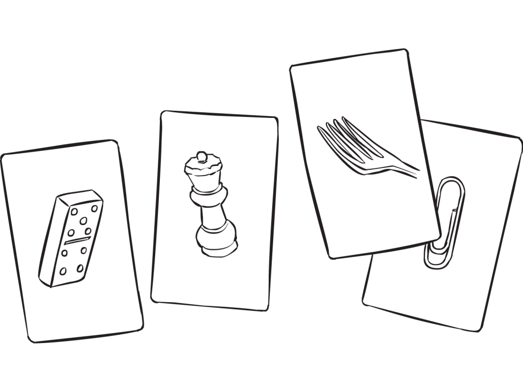 Four unique playing cards as featured in Fine Line Cards exercise