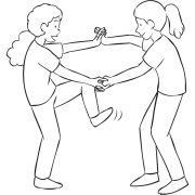Two women holding hands and attempting to step inside their arms as part of fun energiser Wring-Out Stretch