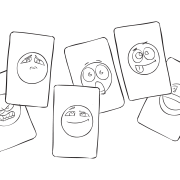 Set of colourful cards called Emoji Cards used for reflection and other fun purposes