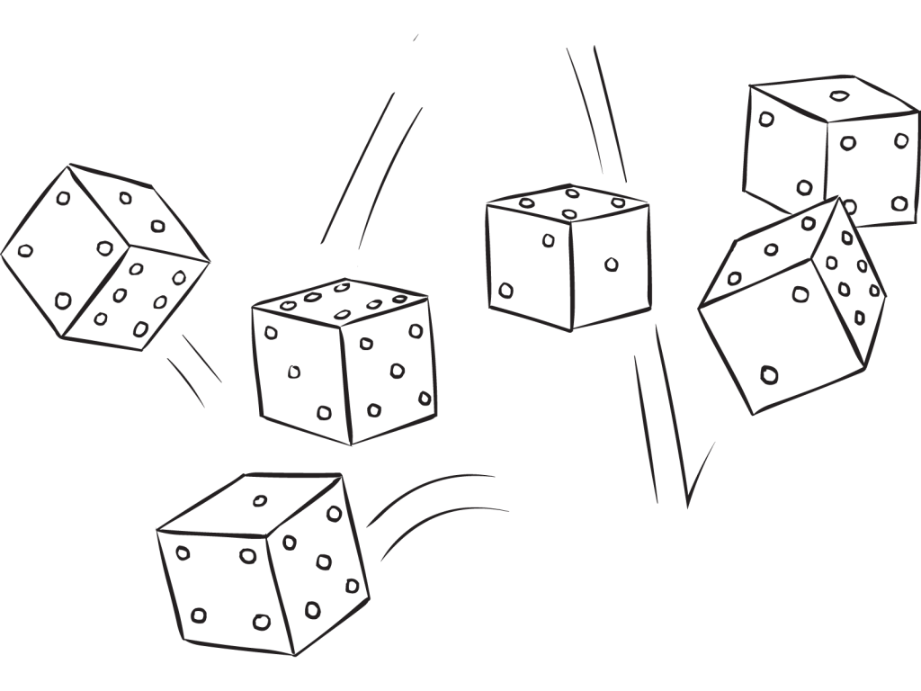 Six dice being rolled as part of the Farkel dice game