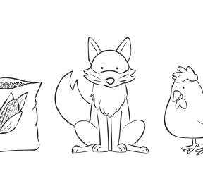 Illustrations of bag of corn, fox and chicken which form part of River Crossing team puzzle