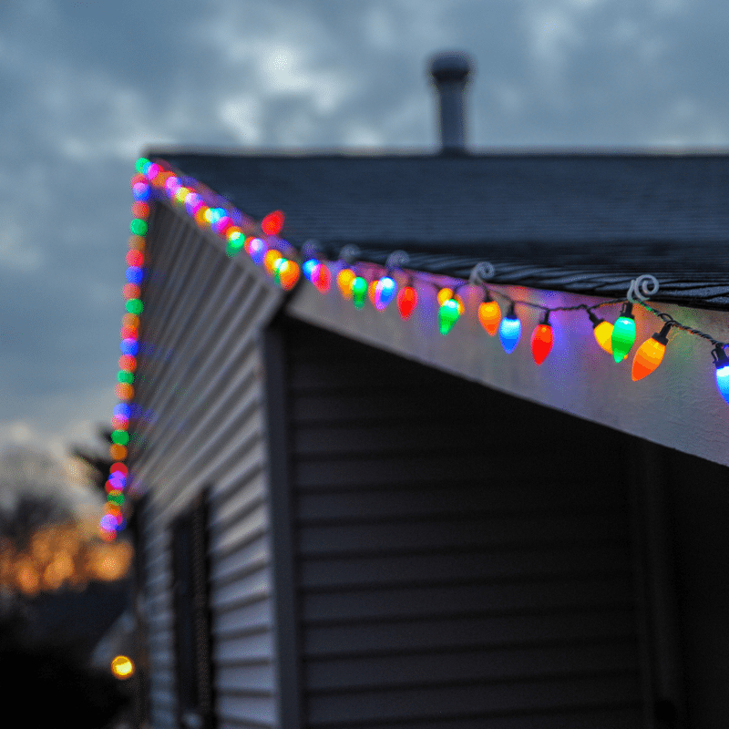 Xmas lights on outside building to reflect Feliz Navidad song with actions. Photo credit: Bob Ricca
