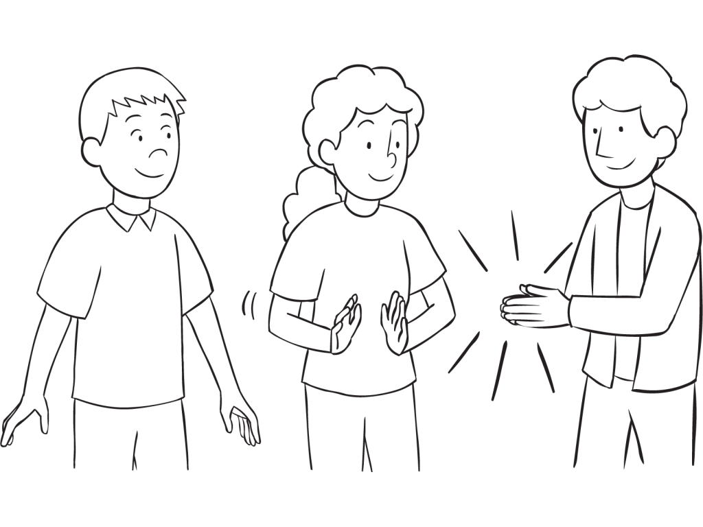 Three people clapping hands as part of Clap Pass ice-breaker activity