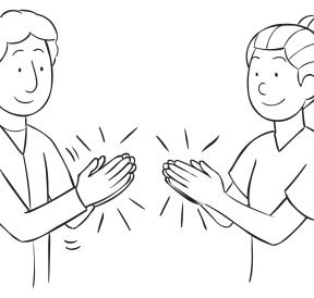 Two people clapping hands as part of Synchro Clap activity