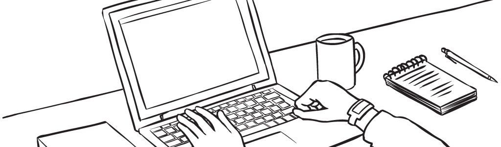 Online Learning Course banner with person typing on a laptop at a desk