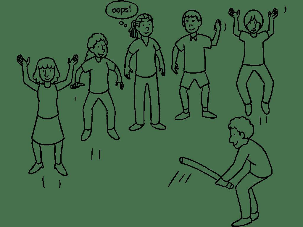 Group in circle playing Samurai