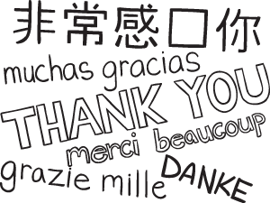 Translation of Thank You on playmeo