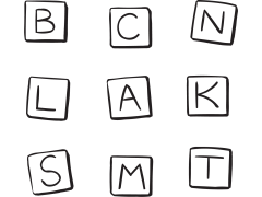 Set of letters to play Human Boggle