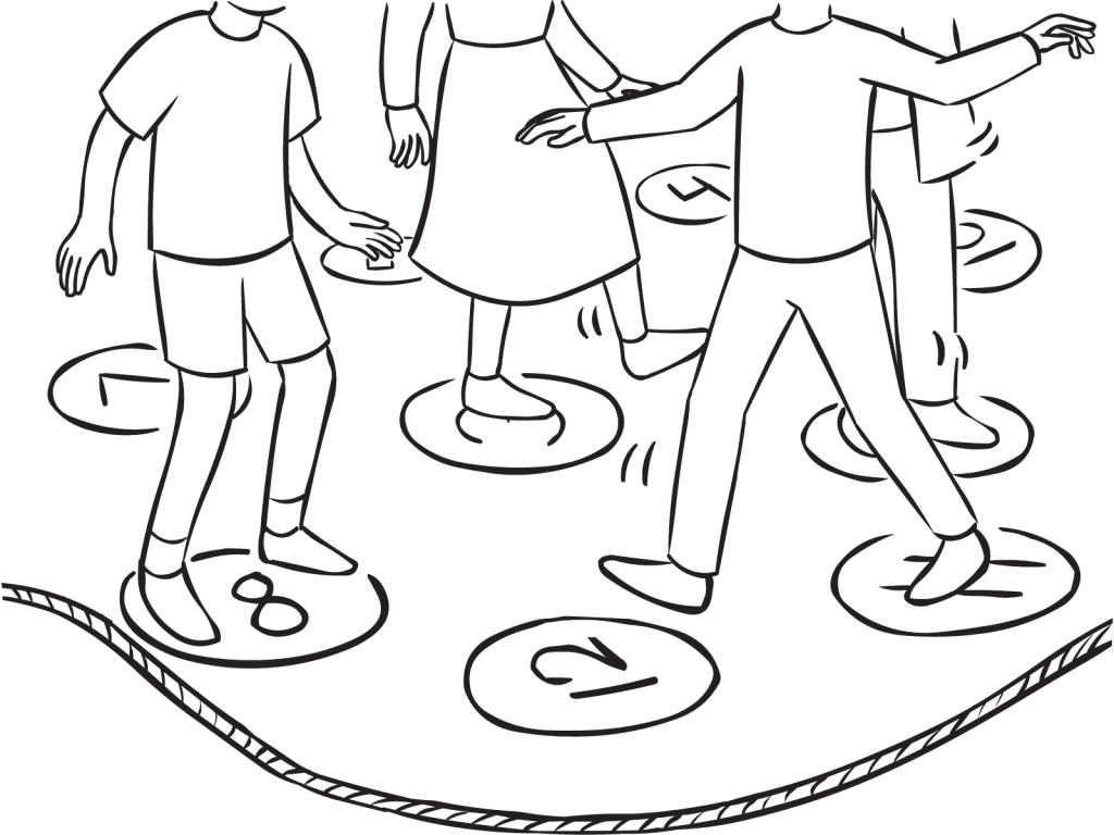 Pressure Cooker group initiative with people stepping on and off numbered spots