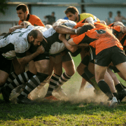 Rugby scrum that needs to calm down. Credit Guryanova