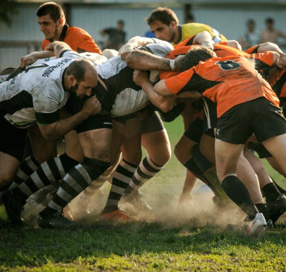 Rugby scrum that needs to calm down. Credit Guryanova