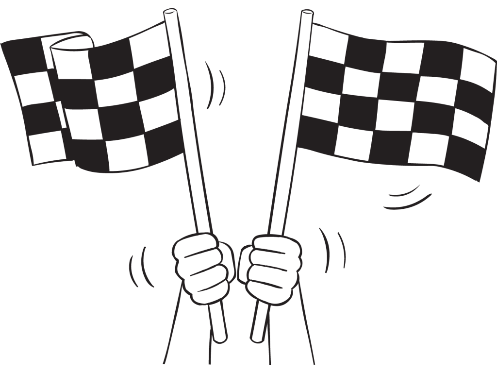 Two flags waving depicting the Unofficial Start