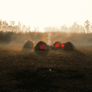 Tents in wilderness, group development process of adventure therapy groups. Credit Kilarov Zaneit