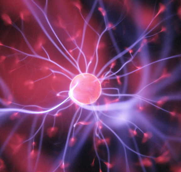 Pink electrodes featuring the science of flow. Credit: Hal Gatewood