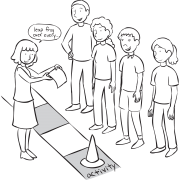 Small group playing BlueStarOpoly