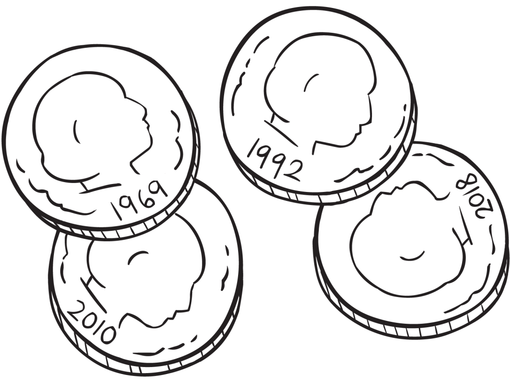 Four coins showing year of the coin