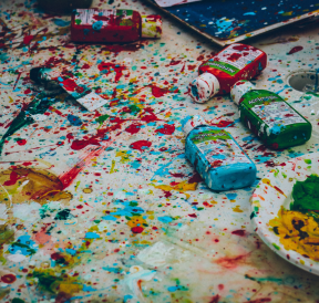 Mess of creativity, paint splattered everywhere. Credit Ricardo Viana