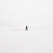 Isolated man on snow with curiosity deficit. Credit Emile Seguin