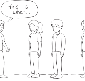 Line of people forming part of a storyline