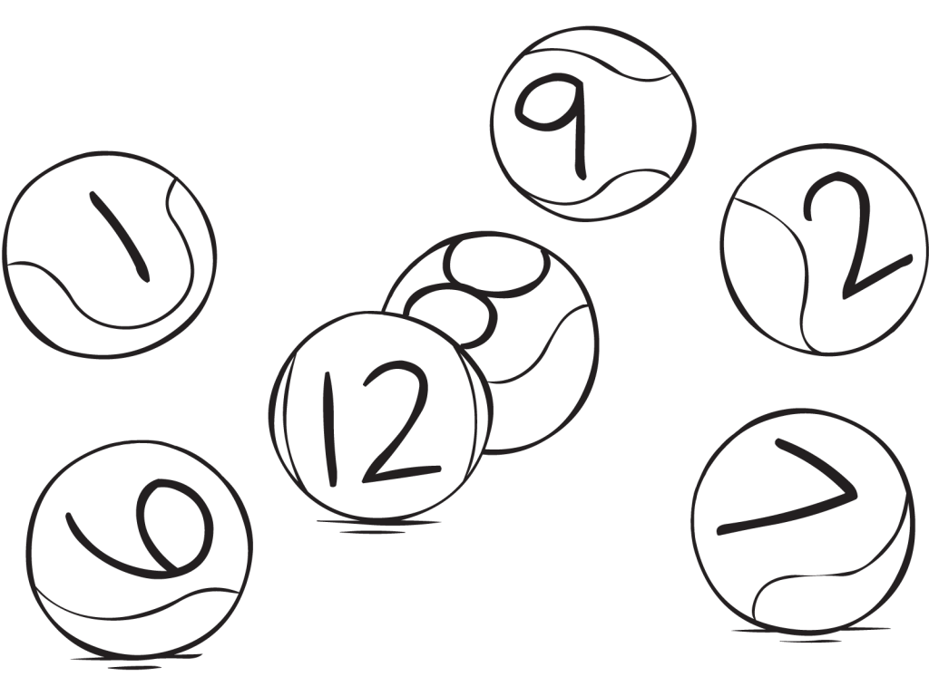 Tennis balls with numbers on them as played in Think Ball