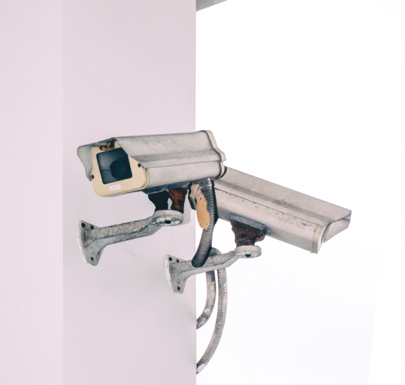 Two security cameras asking are you being too safe?
