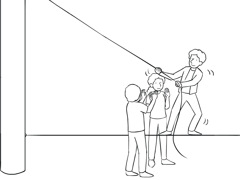 Illustration of man on Tension Traverse challenge course element