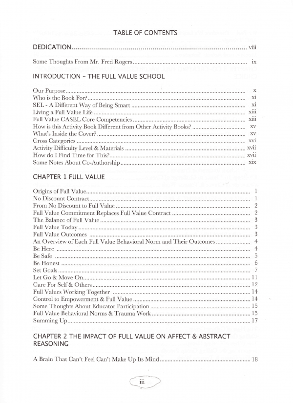 Full Value School Table of Contents page 1