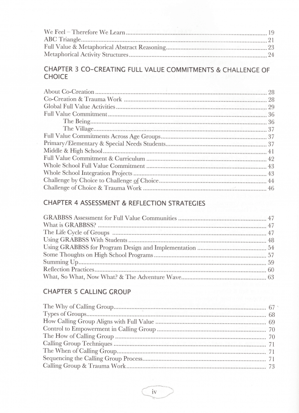 Full Value School Table of Contents page 2
