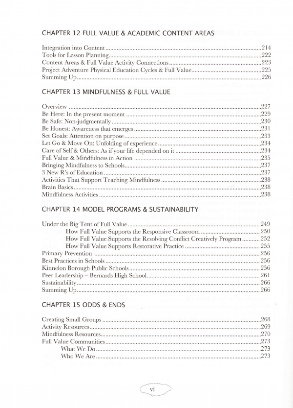 Full Value School Table of Contents page 4