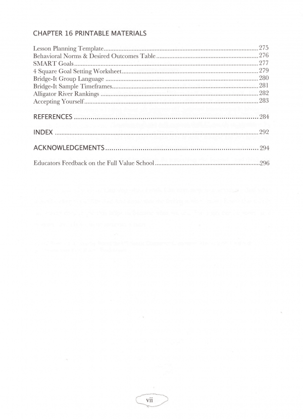 Full Value School Table of Contents page 5
