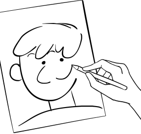 Illustration of person playing Blind Portraits trust-building game
