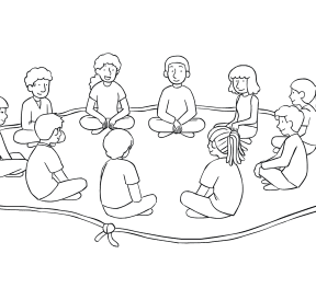 Illustration of group sitting inside rope Island of Healing circle for trust-building