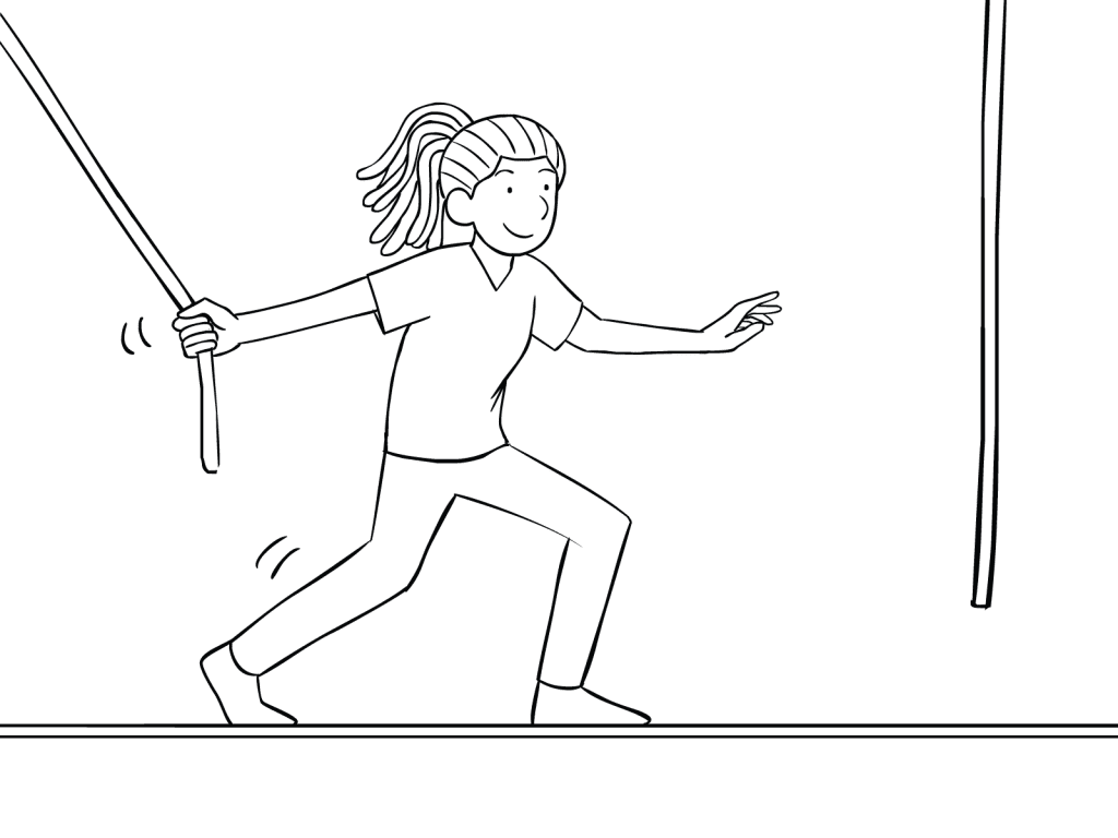 Illustration of woman participating on Multi-vine Traverse challenge course element