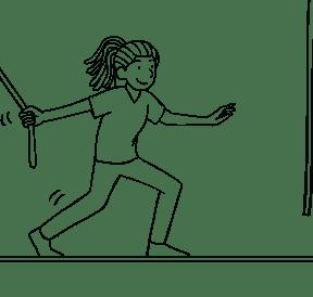 Illustration of woman participating on Multi-vine Traverse challenge course element