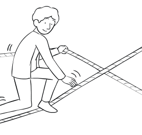 Illustration of man using Hour Glass challenge course element