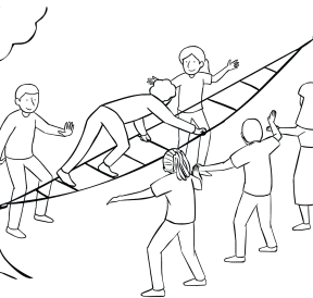Illustration of group using Fidget Ladder challenge course element