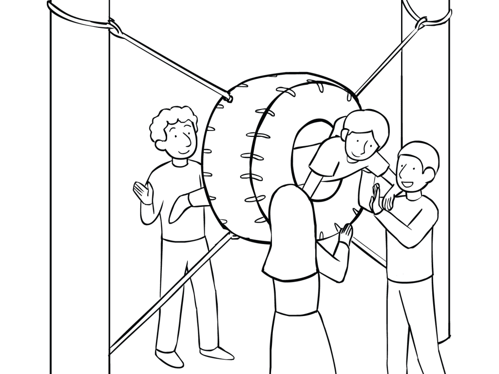 Illustration of group participatin in Porthole challenge course element