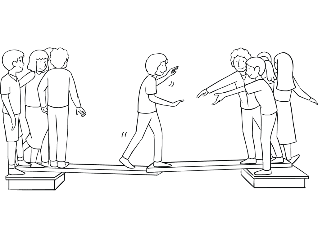 Illustration of group playing Islands team-building activity