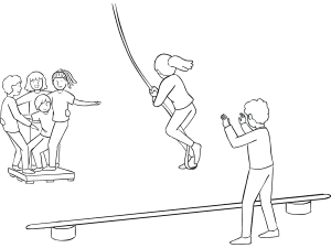 Illustration of group participating in Nitro Crossing challenge course element