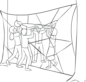 Illustration of group participating in Spider's Web team-building exercise