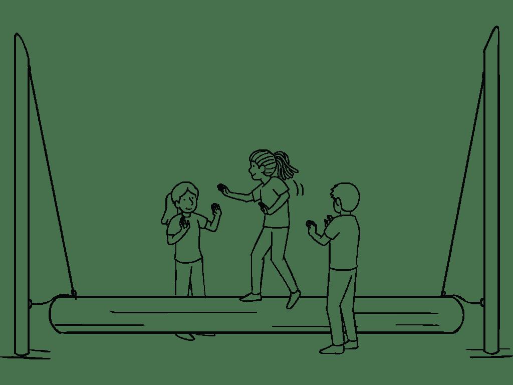 Illustration of group using Swinging Log challenge course element