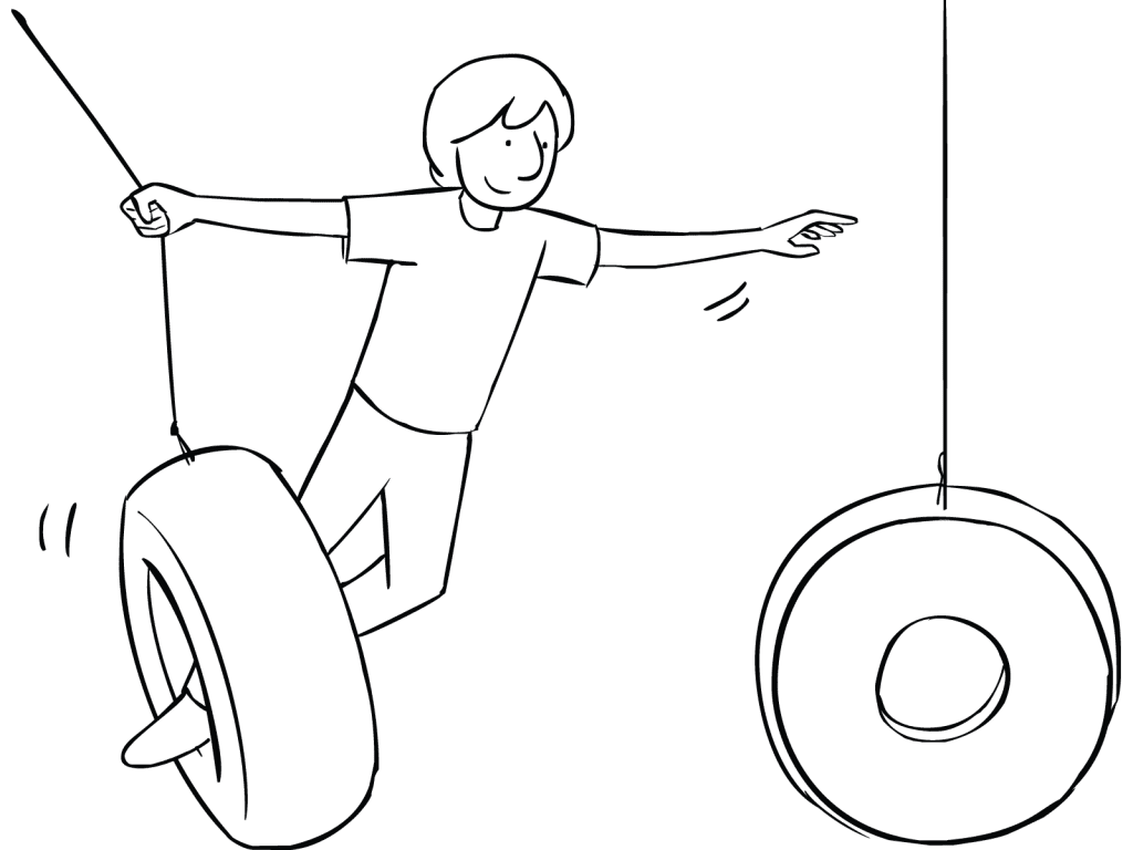 Illustration of man playing on Swinging Tyres challenge course element