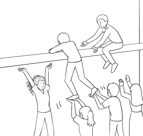 Illustration of group participating in The Beam challenge course element
