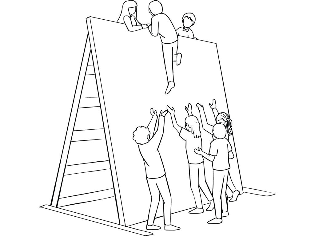 Illustration of group participating in The Wall challenge course element