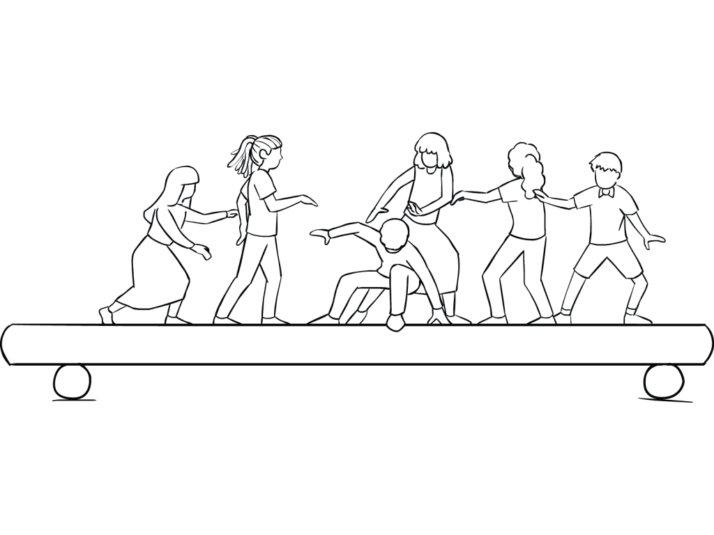 Illustration of group participating in TPO Shuffle team-building challenge course element