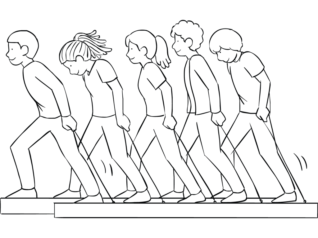 Illustration of group playing on Trolleys challenge course element